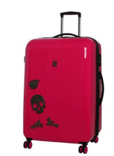 it Luggage Skull & Roses 8 Wheel Large Case Hot Pink Suitcase New