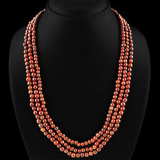 TOP BEAUTIFUL CTS NATURAL RICH RED JASPER 3 LINE ROUND BEADS NECKLACE
