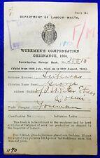 RARE MALTA WORKMEN'S COMPENSATION ORDINANCE 1934, COMPENSATION RECEIPT BOOK