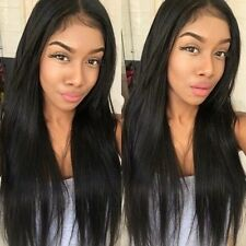 "26"" Black Human Hair Wigs For Women Long Straight Lace Front Full Wig+ Baby Hair"
