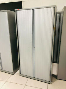 Bisley Various Tall Medium Tambour Door Cabinet Metal Storage Unit Silver Walton