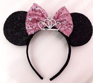 3 Minnie Mouse Ears Headband Princess Rhinestone Big Tiara Silver with Pink Bow