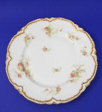 Vtg French Haviland Limoges Dinner Plate Number 2  Pink Roses Gold Trim Edge