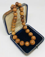 Vintage Necklace Polished Graduated Wooden Beads Collar Length Barrel Clasp