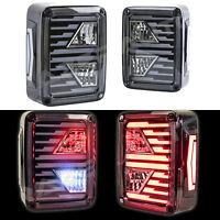 Brake+Reverse+Turn Signal Black LED Taillight fit 07-18 Jeep JK Wrangler 1 Pair