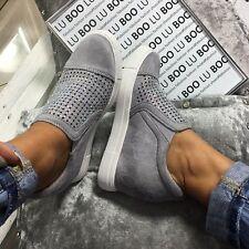 Scarpe da ginnastica donna zeppa grigio scarpe da ginnastica casual tacco basso e diamante misura 8 EU 41