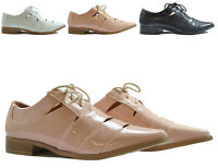 Womens Ladies Dolcis Low Heel Flat Cut Out Cool Lace Up Shoes Brogue Loafer Size
