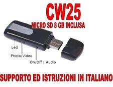 PENDRIVE SPIA NASCOSTA USB SPY MICROCAMERA VIDEOCAMERA + MICRO SD 8GB CW25 A+