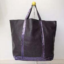 VANESSA BRUNO Large Leather w/t PAILLETTES CABAS Bag, Purple