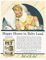 1920s BIG Original Vintage Pet Milk Andrew Loomis Baby Kitchen Art Print Ad