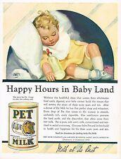 1920's BIG Old Vintage Pet Milk Co. Andrew Loomis Baby Art Print Ad