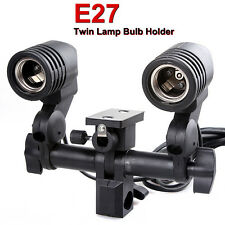CLTH Twin Lamp Bulb Holder E27 Socket Slave Swive Bracket Light umbrella Mount