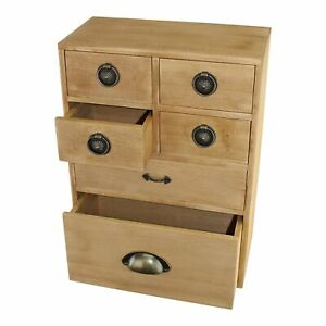 Small Storage Cabinet Wooden 6 Drawers Rustic Home Office Desk Dresser Organiser