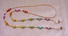 RAINBOW CRYSTAL handmade with  Swarovski Crystals  Eyeglass Chain Holder Gold