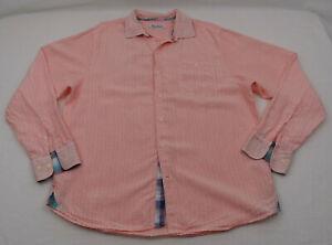 Tommy Bahama Linen Blend Button Up Shirt Mens Large L Orange Pink Long Sleeve
