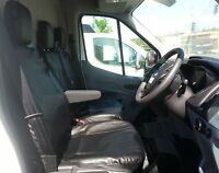 PREMIUM BLACK LEATHERETTE SEAT COVERS TAILORED TO FIT FORD TRANSIT CUSTOM 2013 +