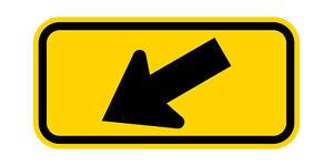 W16-7P Diagonal Arrow(Left) Sign Yellow - 30 x 18 - 10 Year 3M Warranty.
