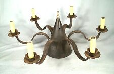 ANTIQUE EARLY 20th CENTURY COLONIAL STYLE 6 ARM TIN CHANDELIER