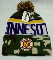 Minnesota Vikings Camouflage Team Color Landmark Patch  Pom Pom Knit Beanie Hat