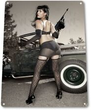 Sharp Shooter Pinup Girl Sexy Hot Rod Car Garage Auto Shop Decor Metal Tin Sign