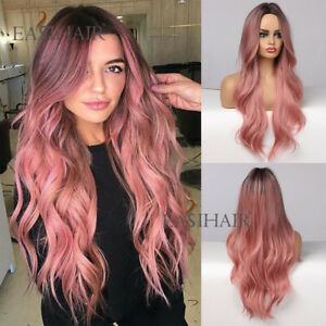 EASIHAIR Women Long Ombre Pink Red Synthetic Hair Wigs for Women Party Wavy Wig