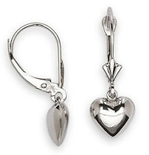 NEW Solid 14K White Gold Leverback Puffed Heart Dangle Earrings 1.1g Very Cute!