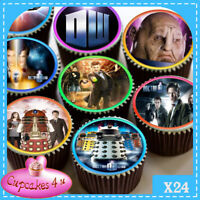 24 X DOCTOR WHO MIXED IMAGES EDIBLE CUPCAKE TOPPERS PREMIUM RICE PAPER C3594