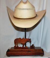 Counter Top Hat Holder With Tray - Cowboy Coffee Break - Made in USA