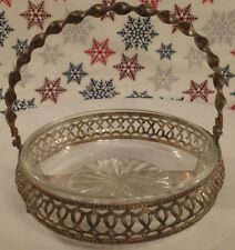 Vintage Glass Vanity Tray With Twisted Metal Handle and Art Design Dish Holder