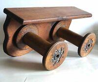 Unusual Textile Mill Wood Spools Hand Crafted Primitve Wall Shelf VTG FREE SH