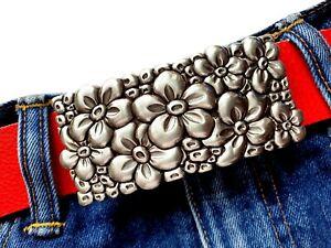 Gürtelschließe Blumen Flowers Frühling silber Wechselschnalle 40mm Damen