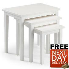 New Julian Bowen Cleo Oak Nest of Tables in Pure White - NEXT DAY Delivery