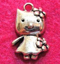 10Pcs. Tibetan Silver CAT Cute HELLO KITTY Cat Charms Pendants Earring Drops C17