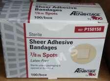 "PRO ADVANTAGE Sheer Adhesive Spots Bandages 7/8"" Sterile 100 NEW BOX Band-Aids"