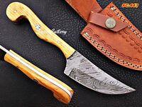 Custom Handmade Damascus steel skinner Knife Olive Wood Handle Mosaic