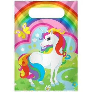 NEW Unicorn Party Bags - Plastic Loot Bags (8 pack) Partyware Gifts School