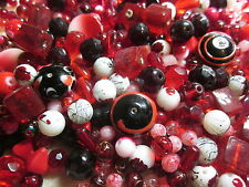 100g Red Glass Bead Mix (Asst Shapes/Sizes) #1853 Combine Postage-See Listing