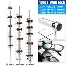 Alu Lockable 12 Frames Eyewear Sunglasses Glasses Eyeglasses Display Rod 10pcs