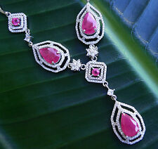 NATURAL REDDISH PINK RUBY  925 STERLING SILVER NECKLACE  PENDANT #331