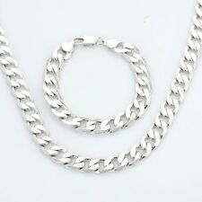 18K White Gold Filled Necklace+Bracelet Set Solid Curb Chain Mens Birthday Gift