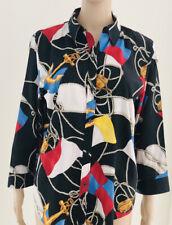 Women's Ralph Lauren nautical all over print loud button down Shirt Large SAIL