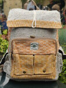 Hemp Bagpack natural mustard multicolor handmade organic sustainable vegan bag