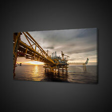 OIL RIG SUNSET CANVAS PICTURE PRINT WALL ART HOME DECOR FREE FAST DELIVERY