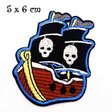 ÉCUSSON PATCH, Bateau Navire Drapeau Pirate, 5 x 6 cm, Applique thermocollante