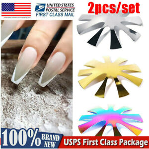 2X V-Shape Nail Cutter Plate Acrylic French Manicure Nail Art Making Steel Plate