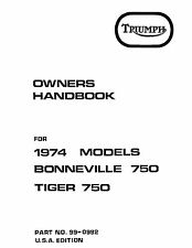 Triumph Owners Manual Book 1974 Bonneville 750 & 1974 Tiger 750