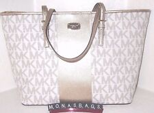Michael Kors Jet Set Gold Center Stripe Vanilla Signature Carryall PVC Tote Bag