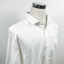 M Tailor Mens 3XL Bespoke Casual Shirt All White 100% Cotton Button Front