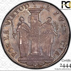 1822 Peru 8 reales Provisional Lima FIRST COIN silver crown peso NGC PCGS AU 55