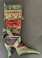 Christmas Stocking Shoe Boot Velvet Silk Luxe Victorian Style Red Green